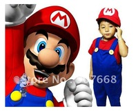 Wholesale - super mario clothes children's cosplay clothing jumpsuit +hat classic Halloween costome