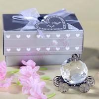Free Shipping 50box Crystal baby wagon baptism favor SJ013