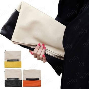 Fashion New Arrival Splicing Patchwork Contrast Color Day Clutches Shoulder Wedding Evening Bags B427
