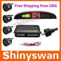 Free Shipping from USA 12V LED Display Indicator Car Reverse Radar Kit Parking Sensors 4 sensors