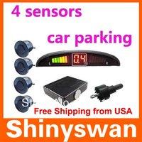 Free Shipping from USA Car Reverse Radar Kit 4 sensors 12V LED Display Indicator Car Parking Sensor