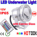 Dropship 10W RGB LED floodlight 12V IP65 Waterproof Underwater Light with Convex Glass Warranty 2 years CE RoHS -- free shipping