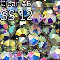 SS12 3.0-3.2mm,1440pcs/Bag Clear AB Crystal DMC HotFix FlatBack Rhinestones,DIY strass garment Hot Fix crystals strass stones