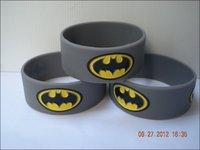 "BATMAN Bracelet, Siliocn Wristband, 1"" Wide Band, Adult, Grey Colour,  50pcs/Lot, Free Shipping"