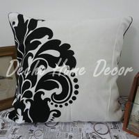 Wholesale Free Shipping  45x45cm Black and White Flower Pattern Cushion Covers Pillow Cases