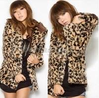 Sexy Women Leopard Faux Fur Coat Jacket Hoodie Outerwear