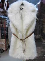 2013 New Fashion Vest Autumn Winter White Faux Fur Vest Double Collar With Belt For Women Girl Ladies' Outwear Coats Free Sale