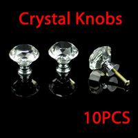 Modern Fashion K9 Crystal 10 Pcs 30mm Diamond Shape Crystal Glass Cabinet Knob Cupboard Drawer Pull Handle