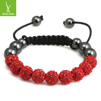 Alibaba Express Hot Sell Shamballa Rhinestone Bracelets with Red Micro Pave CZ Disco Ball Bead Shambala Jewelry LHA85-4