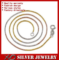 XD Y720F Wholesale 925 sterling silver round snake chain necklace colorful jewelry necklace for women