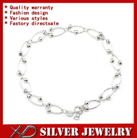 XD S042 925 sterling silver link chain bracelet with laser beads for women about 7 inch
