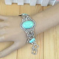 Vintage Look Tibet Silver Alloy Exotic Flower Auspicious Turquoise Bracelet Bangle B214