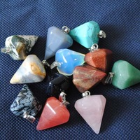 12 Pcs/Lot,Nature Stone Pendant,Loose  Stone Bead, Fit For Necklace Charms,Different Stone Mix,Size: 24x30mm
