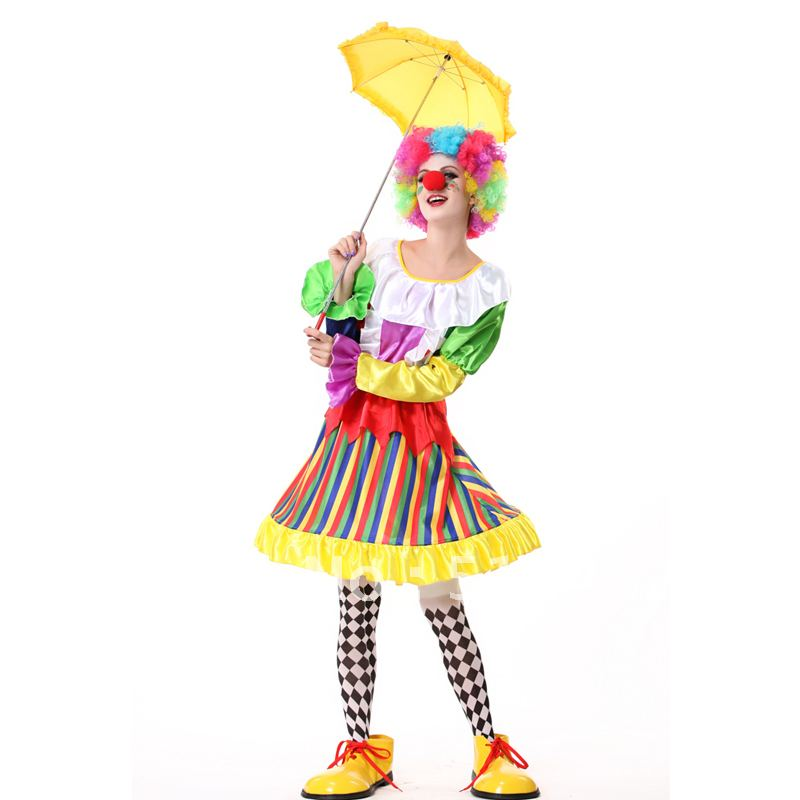 Free shipping new year masquerade children's birthday party costume clown cosplay wig + false nose + dress +socks for fancy kids(China (Mainland))