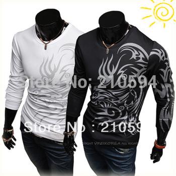 New Hot Sale New Fashion Men's Slim T Shirt Long Sleeve Wolf Image T-Shirt