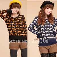 1Piece Free Shipping Autumn  Plus Size Clothing Pullover Slim Sweater Short Design Sweater Christmas Deer Knitwear FWO10028