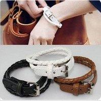 Free Shipping 12pcs/lot  Fashion hot selling handmade leather bracelet,Belt Buckle charm bracelet  low price.WB5014