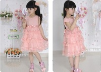 Pretty Kids Girls light pink ribbon bow Lace ruffles Beautiful Princess Dress for 4-10 years old