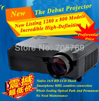Home theater Full HD 4200 lumens LCD+ LED DVD video game Projectors Native1280x 800 with 3HDMI 2USB support hard disk