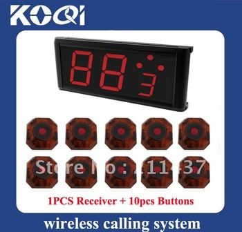 Can show how many next coming callings ;A set of 1pcs display receiver and 10pcs buttons Restaurant ; Wireless Table Bell System
