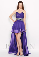 Strapless Ruching Beading Purple Chiffon Junoesque Elegant Gorgeous Luxury Evening Dress Evening Party Dress