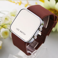 Fashion LED Mirror Watches Quartz Unisex watch Dress Woman and Man Dropship Sports Military wristwatch Free shipping watch