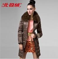 Fashion Competitive price Female medium-long slim large fur collar down Coat