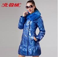 Women Winter shiny  medium-long fashion rex rabbit large fur collar down coat