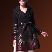2014 Spring New women's rose jacquard plus size slim medium-long trench outerwear windbreaker coat S M L XL XXL XXXL XXXXL size