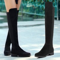women's Fashion sexy Genuine Leather  boots Stretch boots spell color repair leg knee boots