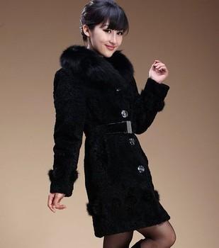 New arrivals women one piece real leather real fur overcoat ladies medium-long sheepskin berber fleece winter coat jacket WC0937