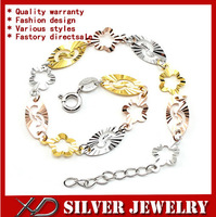 XD S046 High quality s925 pure silver jewelry link chain colorful flower charm bracelet for women 2013