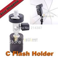Photography Umbrella Flash Mount C Flash Shoe Umbrella Holder Swivel Flash Bracket for Tripod High quality free shipping