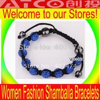 30pcs/lot New Shamballa Bracelet best-selling fashion crystal bead bracelet  Blue beads lace bracelets Shambala