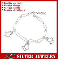 XD S058 925 sterling pure silver chain bracelet nickle free with butterfly charms for women
