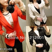 Free shipping 2013 New arrivel women Candy coat Leopard design women Slim jacket Casual suit 3 color retail and Wholesale