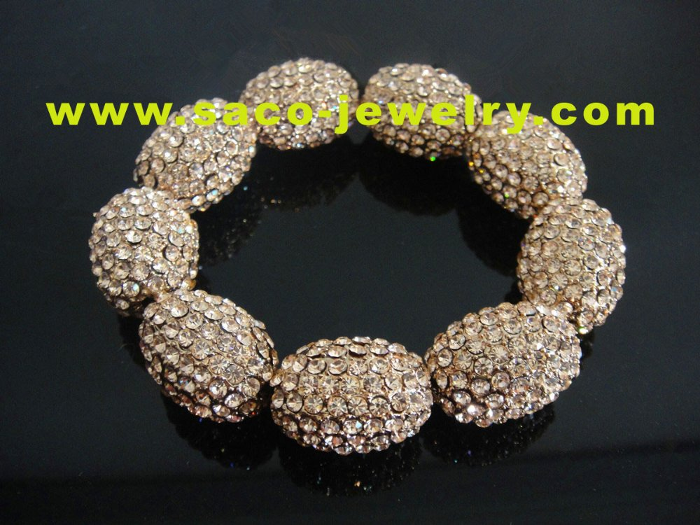 fashion oval ball crystal bracelet with1200 pics czech stone(China (Mainland))