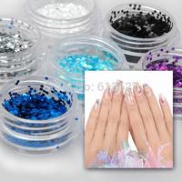 24 color gradient glitter laser sequins Nail Art Glitter Powder Decoration Rhinestones 1 mm hexagonal Series sequins