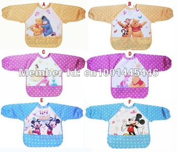12 pcs/lot baby feeding vest smock bibs apron for infant children overall painting pinafore free shipping