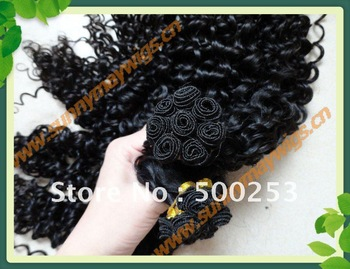 Curly  virgin hair weft  human hair hand tied hair weft