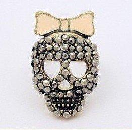 New Arrival Hot Selling Fashion Punk Retro Bow Skull Head Rhinestone Ring Adjustable R214