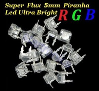 50PCS 5mm Piranha Super Flux RGB LEDs ,Common Anode  Free Shipping