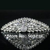 High Quality Austrian Crystal Rhodium Promotion Bridal Accessories Peacock Shape Wedding Crown Tiaras