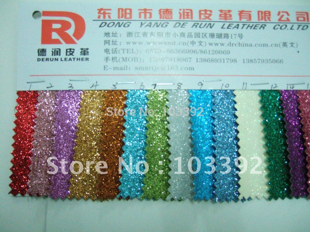 Fahion DERUN shinning glitter PU leather fabric S1001(China (Mainland))