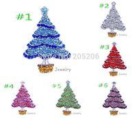 Christmas!!! Fashion White Gold Plated Alloy Rhinestone Brooch Christmas Tree Brooch,12 pcs lot shinning christmas tree brooch