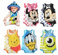 Baby Kids Rompers Fit 0-2Yrs Girls Boys Children One-Piece sleeveless Rompers Baby Clothing 15Pcs/lot Free Shipping