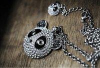 Super cute full drill panda double necklace