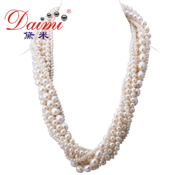 2013 jewelry Retail Cultured Pearls Necklace Various Size made by 7-11mm , 7 strand ,60cm freshwater Pearl(China (Mainland))