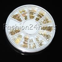 New Wheel 120pcs Gold Nail Art Sticker Decoration Acrylic Tips Metal Slice Wheel Tiny Mixed Design Free Shipping