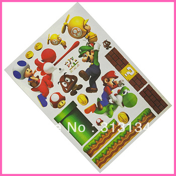 2pcs Super Mario Bros Brothers cartoon PVC Removable Wall Sticker Home Decor For Kids Room enjoy fun wholesale Dropshipping